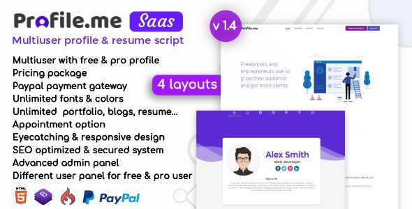 Profile.me v1.4 NULLED — скрипт интернет-сайта визитки либо резюме