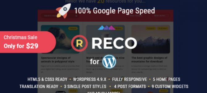 Reco v4.0.0 NULLED — шаблон для блога либо новостного интернет-сайта WordPress